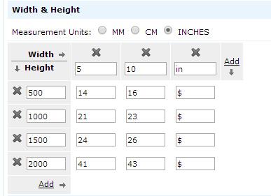 Width & Height