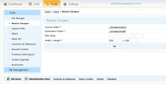 Resize Images tool